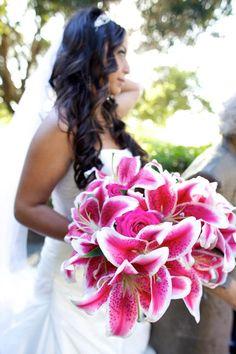 Stargazer lily pink flower wedding boquet