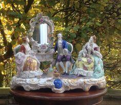 Porcelain-Figurine-Mirror-Group-Volkstedt-Dresden-Saxe-Rococo-German-Thuringen