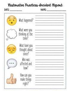 Restorative Practices QuestionsIncident Report  Teacher