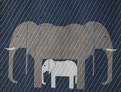 Charley Harper Jumbrella Elephant Family Baby Fabric Quilt Pattern DIY Modern | eBay