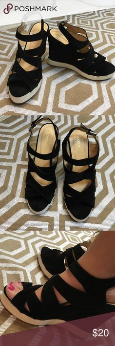 Black suede heels NWB - Shoedazzle black suede/velvet wedge heel with rope detail on bottom edge. Never been worn, still in box. Heel height is 4.5 inches. Shoe has padding on foot bed so very comfy. No trades. Offers welcomed! Shoedazzle Shoes Wedges