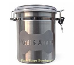 Personalized Dog Treat Jar with Name in Bone- Chrome