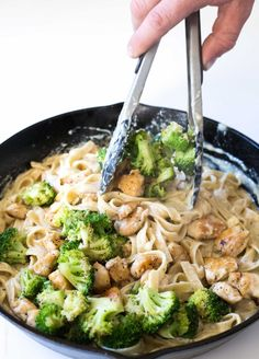 Broccoli Chicken Fettuccine Alfredo - 30 minute pasta dinner