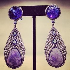 Sutra sapphire and diamond earrings at @Fragments Jewelry