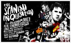The Spanish Inquisition: Barca, Real Madrid, and Athletic Bilbao. Illustration by Peter Strain. Eight by Eight: An independent soccer quarterly. 8by8mag.