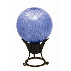 "6"" Gazing Globe in Crackle Blue Lapis by Achla. $28.00. G6-C Set Features: -Statue.-Hand-blown glass.-Sealed at the bottom for longevity.-Stand purchased separately. Color/Finish: -Color: Blue Lapis. Dimensions: -Overall dimension: 8'' H x 6'' W x 6'' D."
