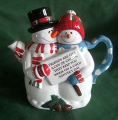 Houston Harvest SNOWMEN COUPLE TEAPOT NEW FRIENDS ARE LIKE A CUP OF COCOA | eBay