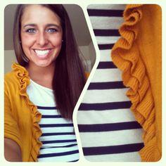 nautical stripes & ruffled cardigan.