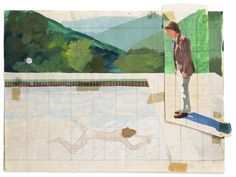 Study for 'Portrait of An Artist' (Pool with Two Figures), 1972 by David Hockney on Curiator, the world's biggest collaborative art collection. Gouache Painting, Painting & Drawing, Encaustic Painting, David Hockney Photography, David Hockney Pool, David Hockney Paintings, New York Exhibitions, Digital Museum, Collaborative Art