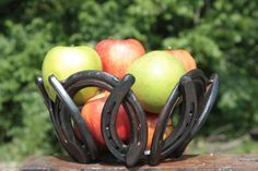 horse shoe bowl centerpiece by DARKHORSEIRONWORKS on Etsy