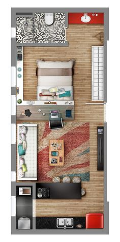 Studio style | Neorama - Floor Plan Tiny Houses Floor Plans, Tiny Home Plans, Tiny Cabin Plans, Mini House Plans, One Floor House Plans, One Bedroom House Plans, Tiny House Bedroom, One Bedroom Flat, Bedroom Floor Plans