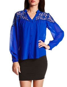Blue blouse with lace shoulders!