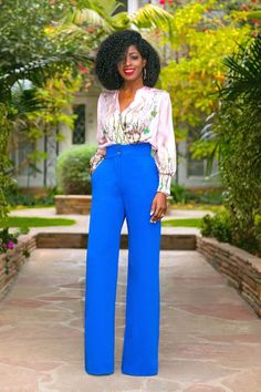 Style Pantry | Printed Body Suit + High Waist Wide Legs