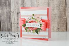 Thank You card made with hand-cuted flowers from the Birthday Bouquet Designer Series Paper - Jessica Winter