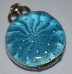 SILVER-BLUE-GUILLOCHE-ENAMEL-SMALL-LADIES-FOB-WATCH
