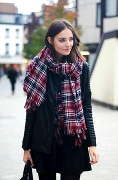 Plaid scarf + black leather moto jacket