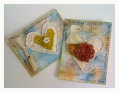 valentine cards to treasure with embroidery, watercolor, and machine stitching for beautiful mixed media art work! ~ quilting daily