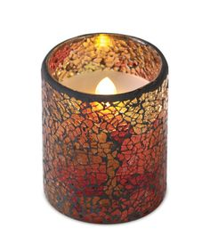 LED Mosaic Candle #crackle #timer