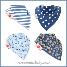 Cool, Stylish and Fashionable Bandana Bibs Sets! Sets of four fun and colourful bibs with two poppers. Stylish Blues: https://nonnasbaby.co.uk/shop/fun-bandana-bibs-set-stylish-blues/