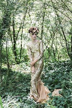 Gold sequin wedding dress with long sleeves, looks amazing in a woodland setting #weddingdress #bridalstyle