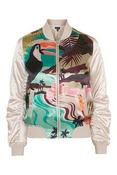 Parrot Print MA1 Bomber Jacket