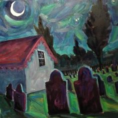 Elizabeth Fraser painting of the Eastern Cemetery, Portland, Maine
