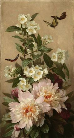 Paul de Longpré 'Peonies and butterflies' c.1900  Paul de Longpré [French flower painter 1855-1911] Born in France, he worked mainly in the United States and was entirely self-taught.