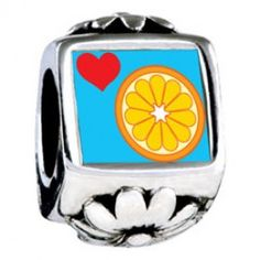 Heart Orange Slice Photo Flower Charms  Fit pandora,trollbeads,chamilia,biagi,soufeel and any customized bracelet/necklaces. #Jewelry #Fashion #Silver# handcraft #DIY #Accessory