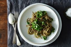 Soba with Parsley-Pea Pesto and Kale recipe on Food52