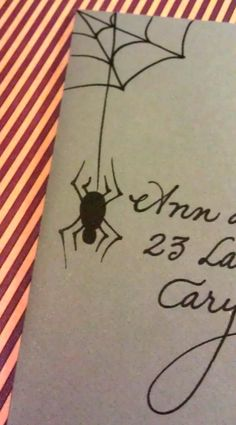 Let me add pizazz to your envelopes!  (In this case, a spider & web for a Halloween soiree.)  www.calligraphybycarrie.com