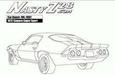Printable Camaro Z28 Rear View coloring pages for boys