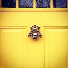 Bumblebee Door Knocker by Michael Healy Designs Bumblebee Door Knocker by Michael Healy Designs Yellow Front Doors, Bees Knees, Door Knockers, Mellow Yellow, House Front, My Dream Home, Planer, Decoration, Interior And Exterior