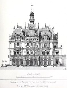 """archimaps: """"Main facade of the Chateau d'Aubiry """" Neoclassical Architecture, Baroque Architecture, Classic Architecture, Historical Architecture, Beautiful Architecture, Architecture Mapping, Architecture Drawings, Art And Architecture, Architecture Details"""