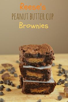 Reese's Peanut Butter Cup Brownies - yummy for the tummy - Cake Köstliche Desserts, Dessert Recipes, Bar Recipes, Cream Recipes, Healthy Recipes, Candy Recipes, Dinner Recipes, Peanut Butter Cup Brownies, Bonbon