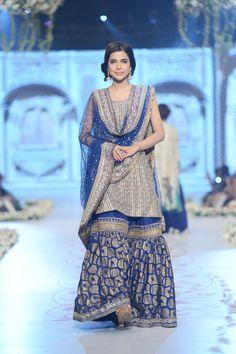 Royal Blue: Nida Azwer Bridal Collection at Pantene Bridal Couture Week 2014 Pakistani Wedding Dresses, Pakistani Outfits, Indian Outfits, Nikkah Dress, Shadi Dresses, Indian Dresses, Gharara Designs, Eastern Dresses, Desi Clothes