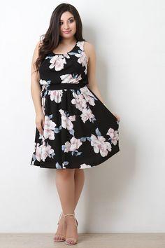Sleeveless Textured Floral Midi Dress