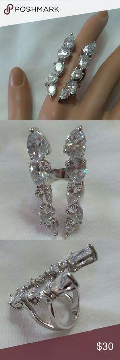 Zircon half finger cuff ring Zircon half finger ring. Size 5.5 Jewelry Rings