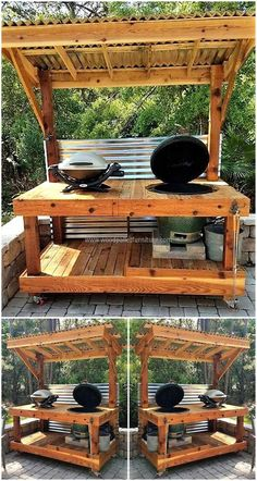 There are many people who love to invite their friends to a BBQ party often, so they need a special place for its preparation. Here we are going to share an idea which will allow BBQ preparation anytime, it contains the shade as well.