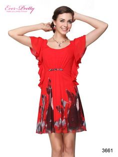 Round Neckline Printed Chiffon Rhinestones Cocktail Dress