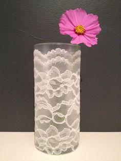 DIY Lace Vase with modge podge