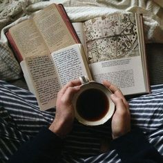 multiple books open with cup of tea. / sfgirlbybay