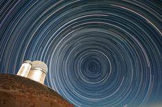 Star trails over the ESO 3.6 m telescope, which hosts HARPS. (Courtesy: ESO/A Santerne)