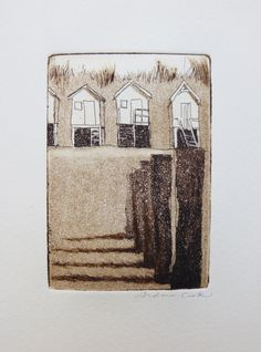 original etching and aquatint of a beach huts and wave breakers andrea cook | atelier28