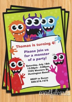 monster party invitations- Azzy should have a monster theme birthday party, seen so many cute ideas on here with that theme!