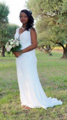 Robe de mariée sirène en microfibre, mariage 2020 Microfibre, Lace Wedding, Wedding Dresses, Sexy, Marie, Rose, Fashion, Slinky Wedding Dress, Plunging Neckline Outfits