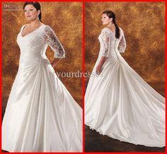 Wholesale V-neck Long Sleeve Lace Vintage Royal Train Waist Gathered Appliques Custom Plus Size Wedding Dress, Free shipping, $212.8-222.32/Piece | DHgate