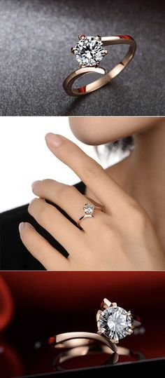 Bague Diamant Tendance 2018 : round rose and diamand moissanite engagement ring anillos de compromiso Wedding Rings Simple, Unique Rings, Trendy Wedding, Summer Wedding, Wedding Vintage, Dream Wedding, Gold Wedding, Simple Rings, Wedding Book