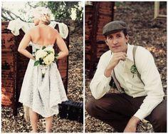 vintage hochzeit braut kurzes kleid brautigam