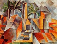 """Cubismo: """" A fábrica na horta de Ebro"""", (1909). Não entendi a pintura mas percebi que nela existem várias formas geométricas como: retângulos e quadrados."""