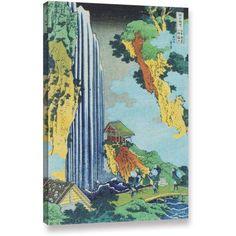 ArtWall Katsushika Hokusai Ono Waterfall on the Kisokaido Gallery-Wrapped Canvas, Size: 24 x 36, Green